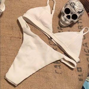 2pc white Brazil cut textured bikini HOT swim L